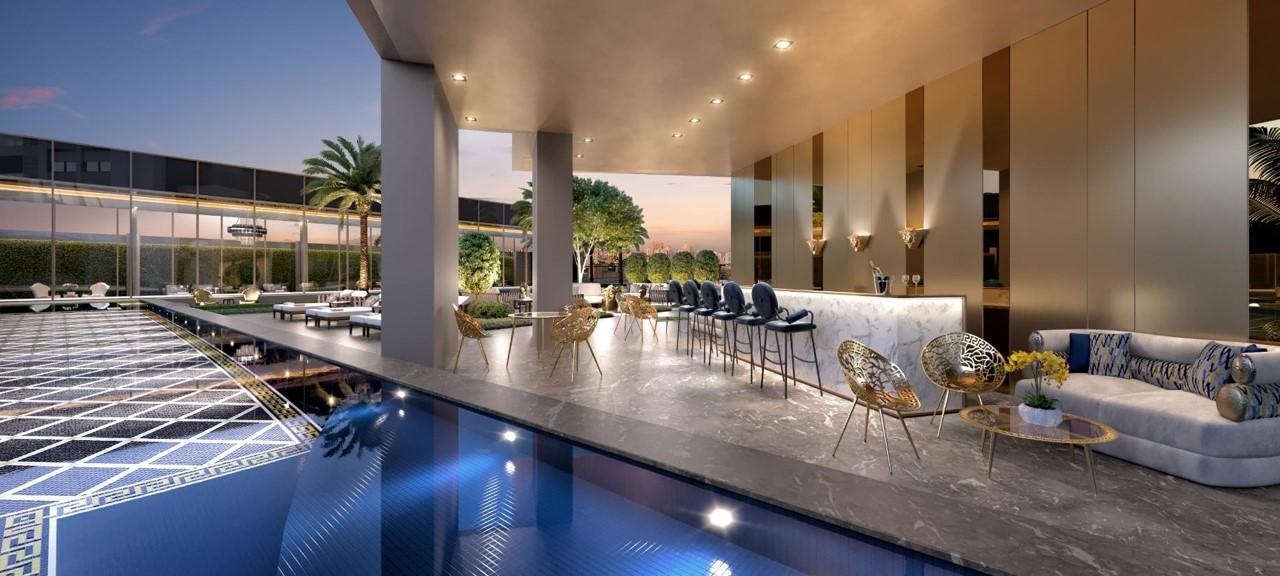 Bar da Piscina da Torre Residencial do Lançamento Villa by Versace Home