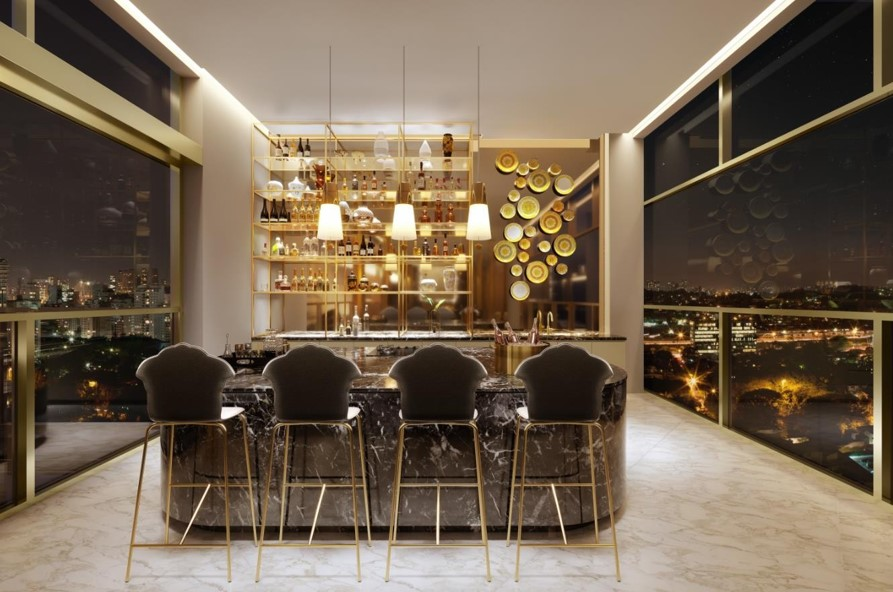 Bar do Rooftop da Torre dos Stutios do Lançamento Villa by Versace Home