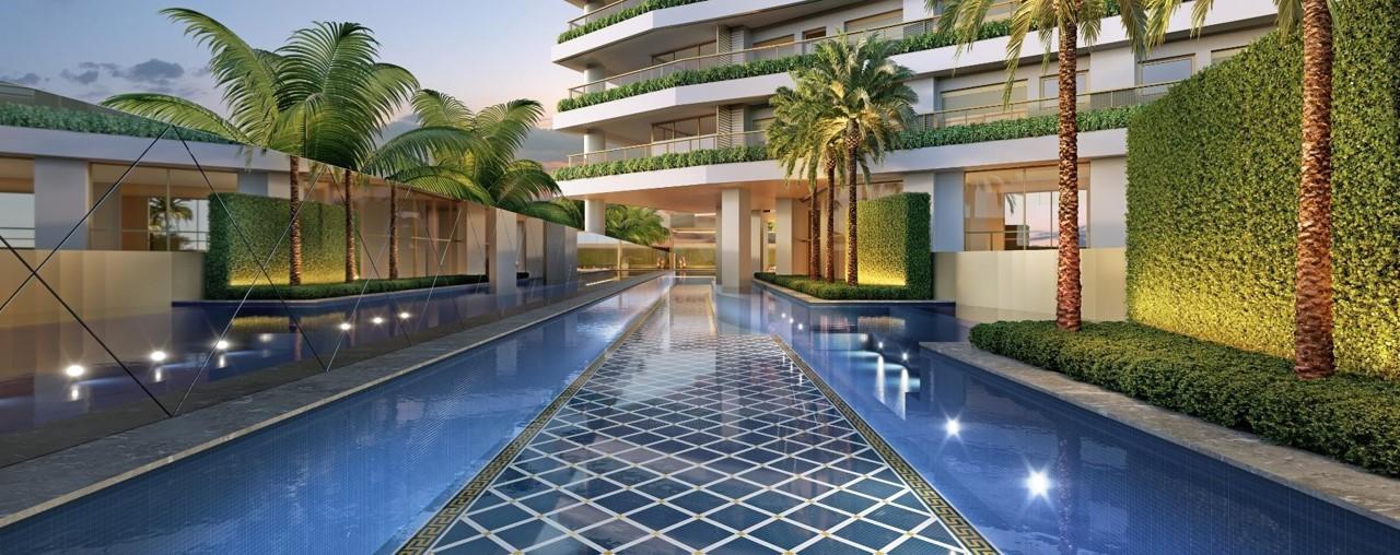 Piscina Descomenta de 57m da Torre Residencial do Lançamento Villa by Versace Home
